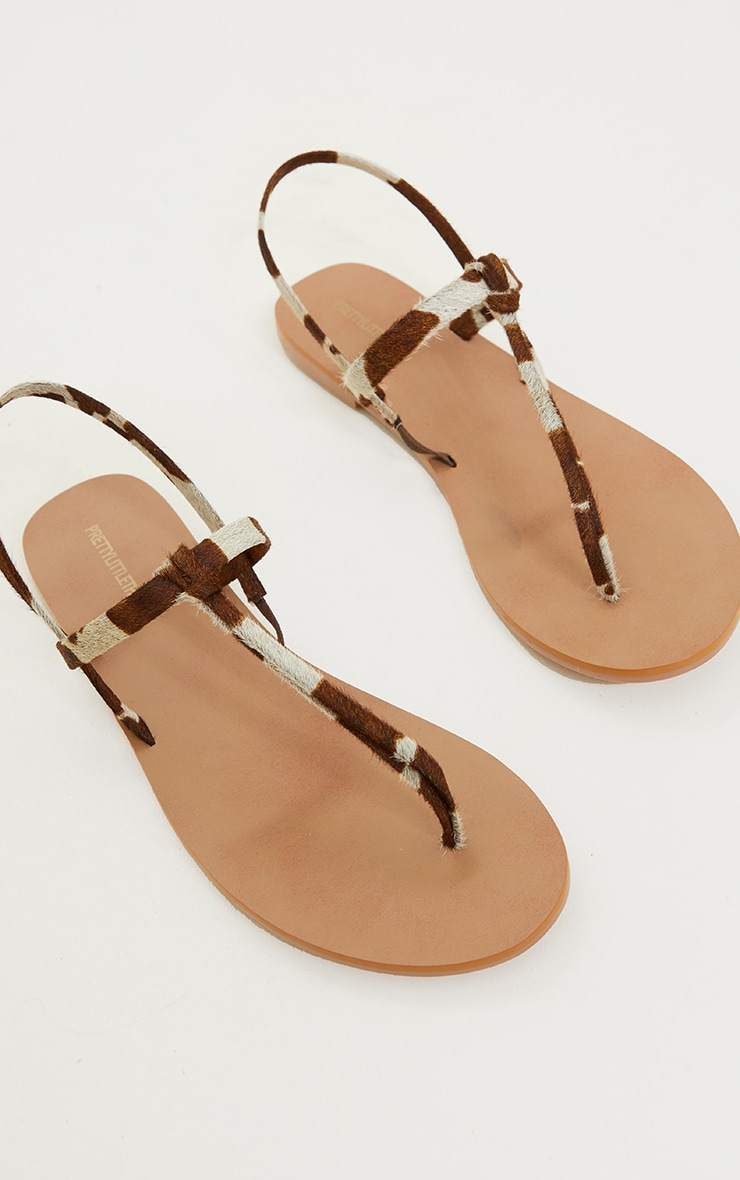 Cow Print Real Leather PU Toe Thong Sling Back Sandals 4