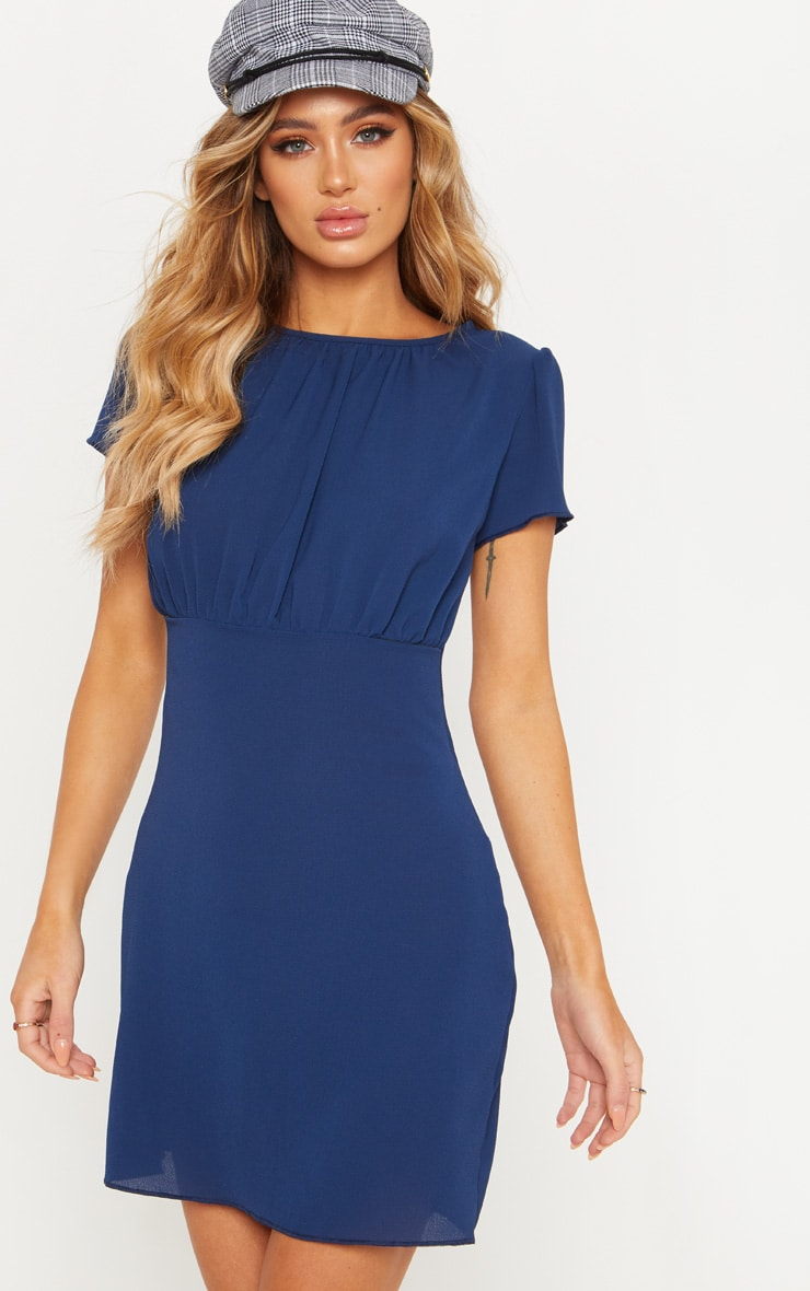 Navy Bubble Crepe Gathered Neck Shift Dress