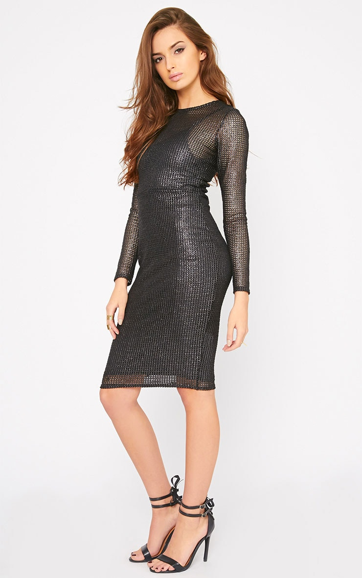 Delphia Black Net Midi Dress 3
