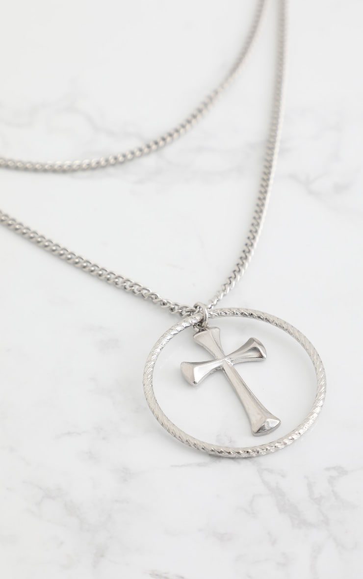 Silver Layered Chunky Cross Necklace 4