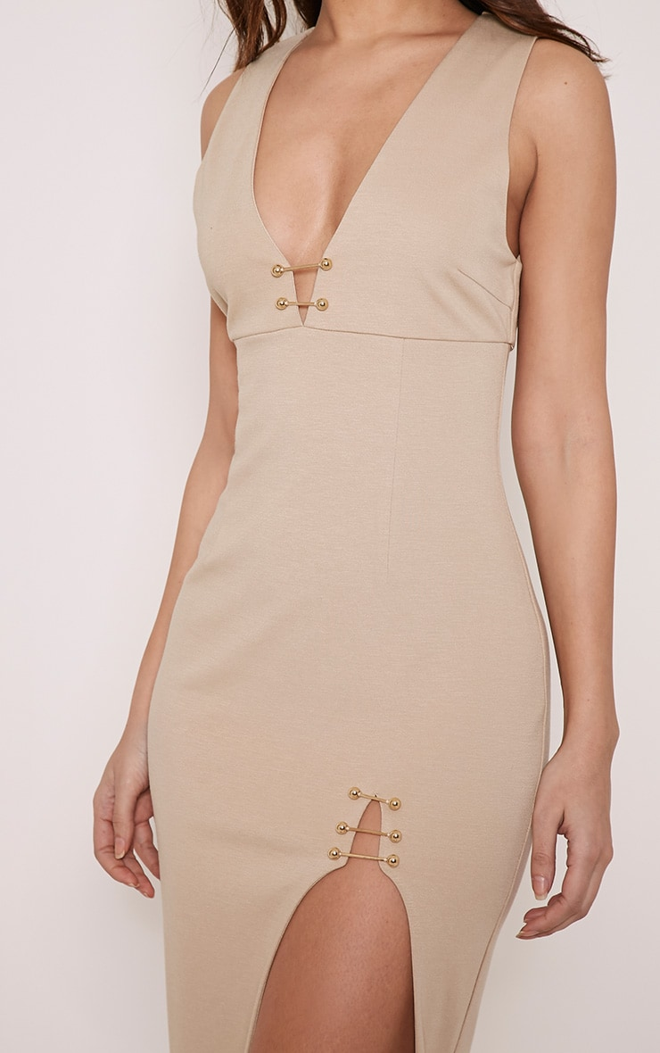 Ally Taupe Pin Detail Plunge Midi Dress 6
