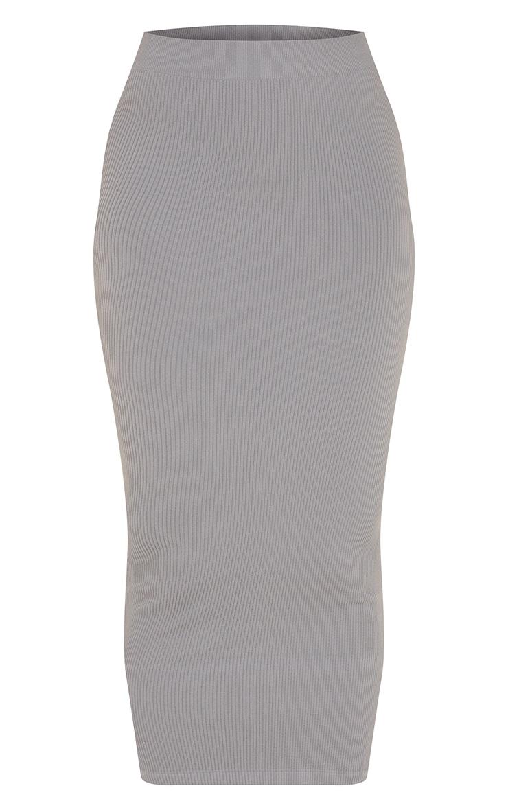 Dark Grey Structured Contour Rib Maxi Skirt 5