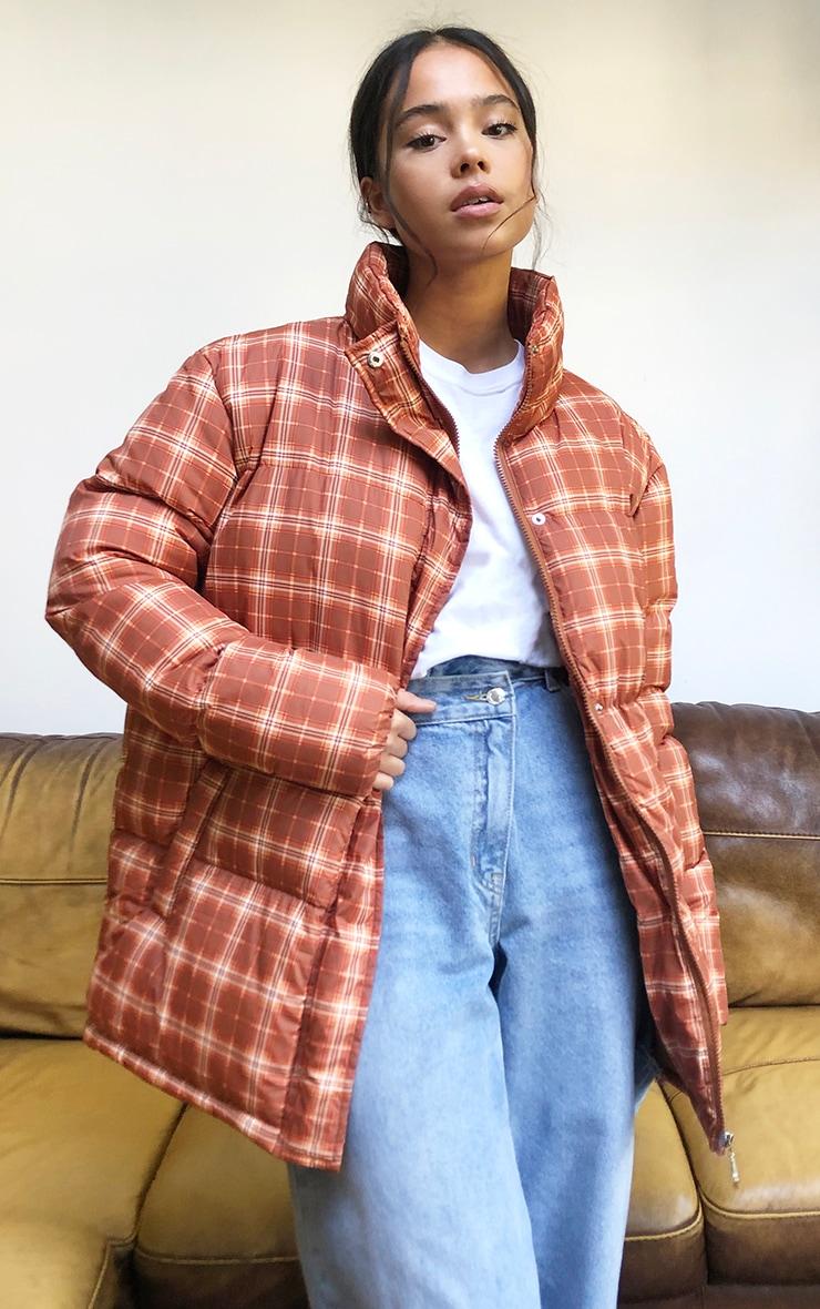 Rust Nylon Checked Oversized Puffer Jacket 1