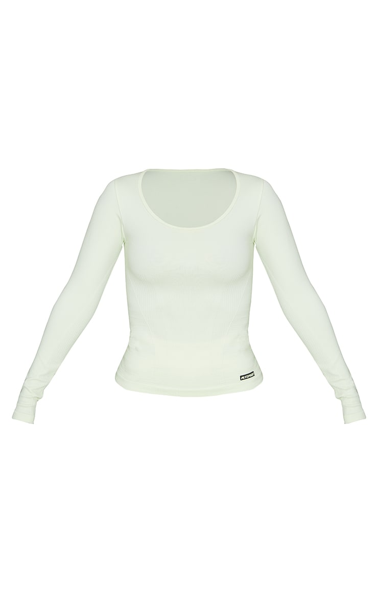 Lime Seamless Square Neck Long Sleeve Sports Top 5