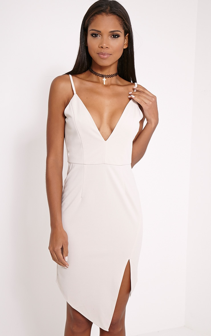 Bay Cream Plunge Strappy Midi Dress 1