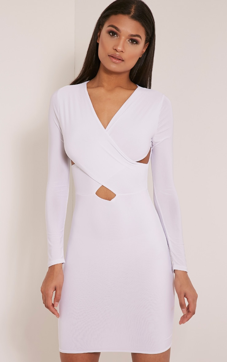Tamaya White Long Sleeve cross front Bodycon Dress 5