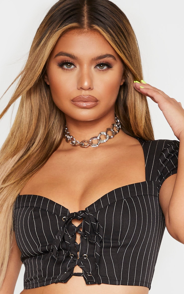 Black Pinstripe Sweetheart Neck Lace Up Crop Top 5