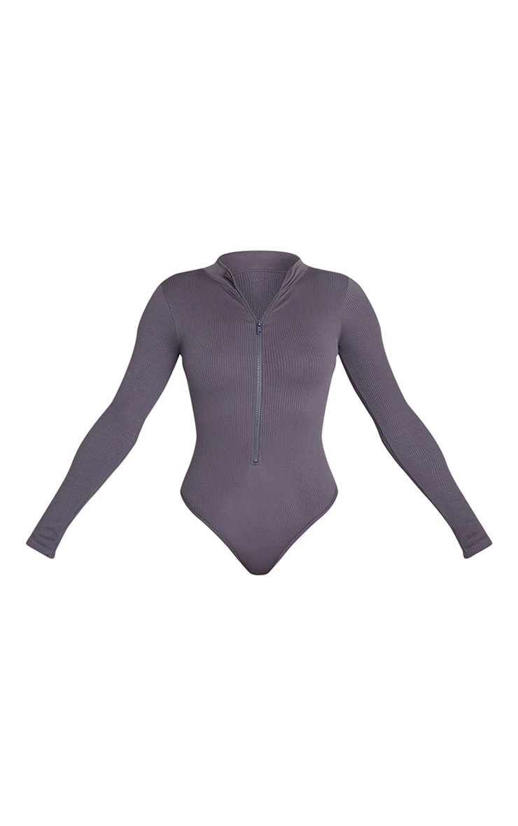 Charcoal Contour Rib Zip Up Long Sleeve Bodysuit 5