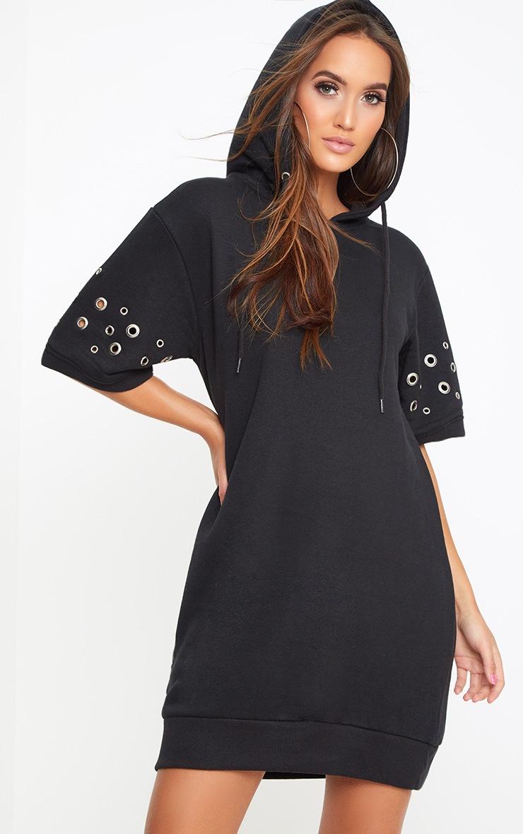 Black Loop Back Metal Ring Detail Sweater Dress 1