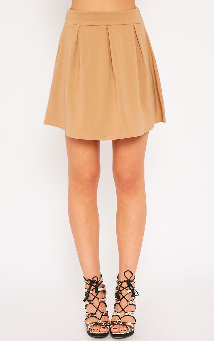 Astrid Camel Pleated Scuba Skater Skirt 4