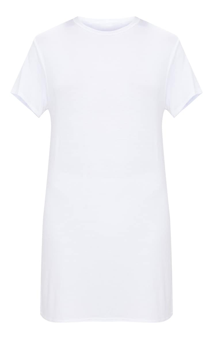 Basic White Short Sleeve T Shirt Dress 3