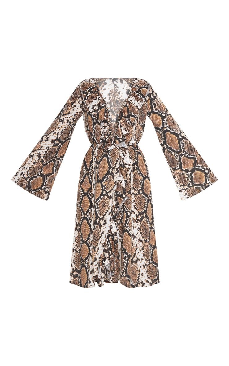 Brown Snake Print Wrap Front Frill Midi Dress 3