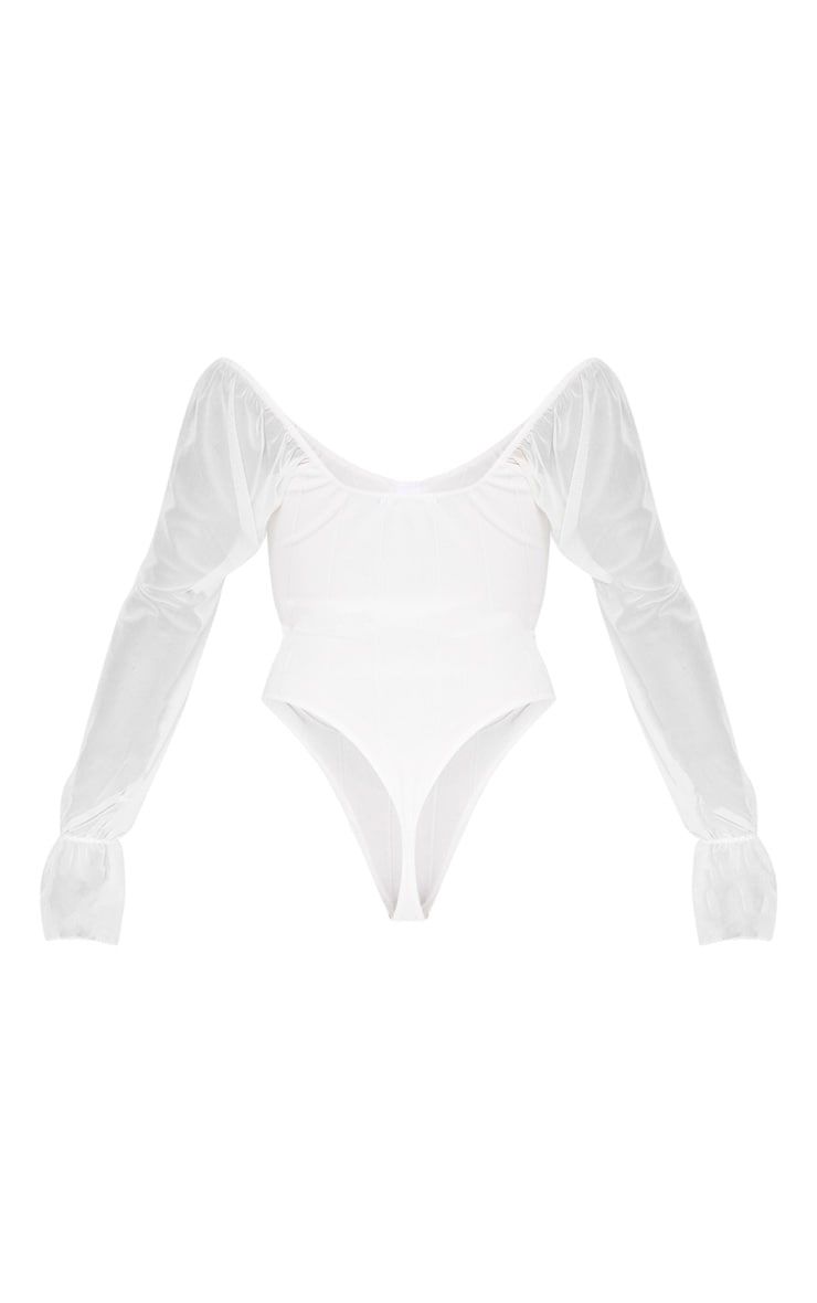 White Rib Mesh Sleeve Bodysuit 4