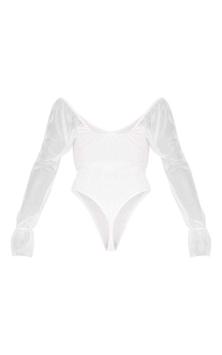 Body côtelé blanc à manches en mesh 4