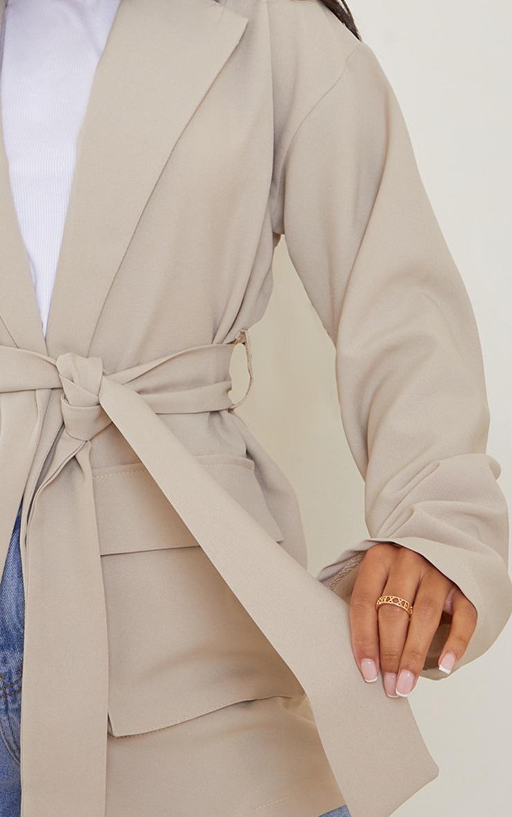 Stone Woven Pocket Detail Belted Utilty Blazer 4