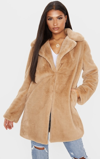 Beige Faux Fur Midi Collar Coat