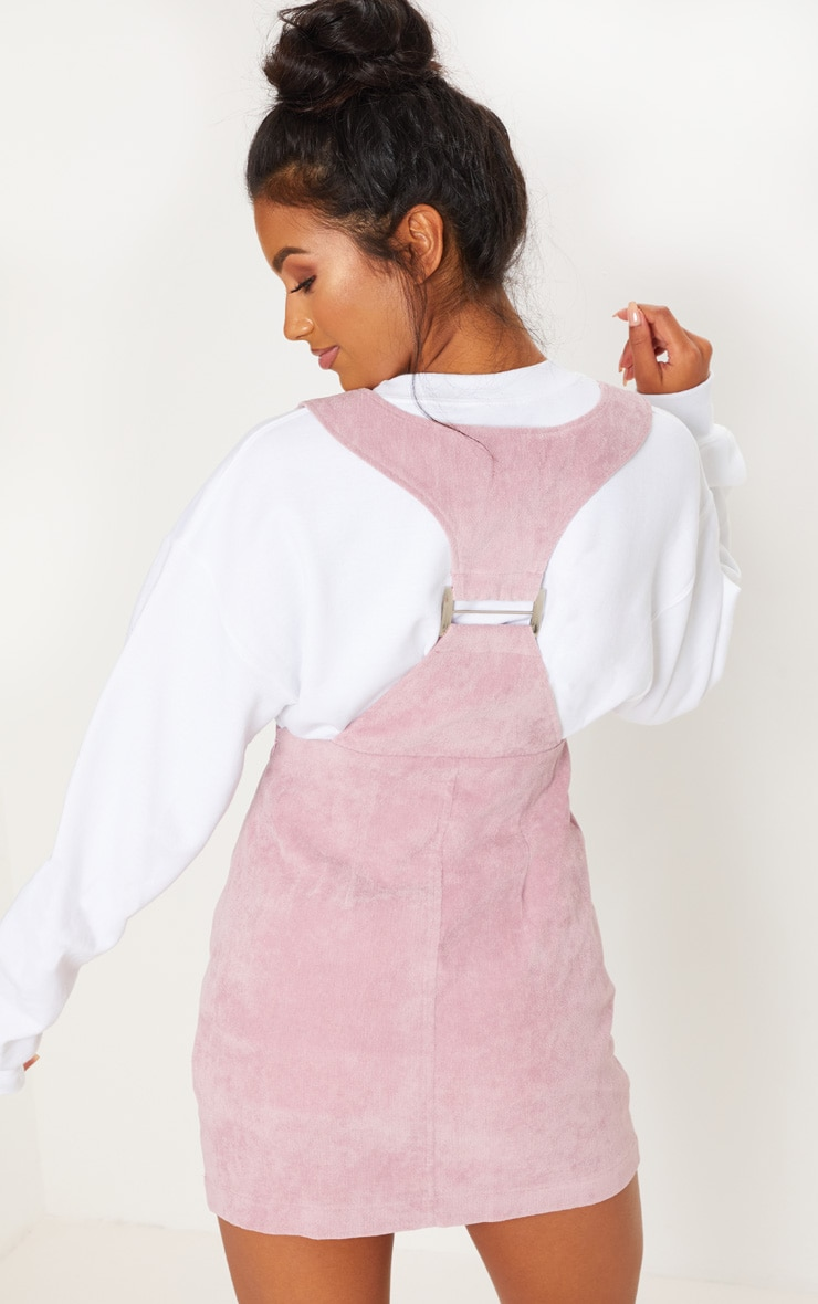 Dusty Pink Corduroy Metal Detail Back Pinafore Dress 2