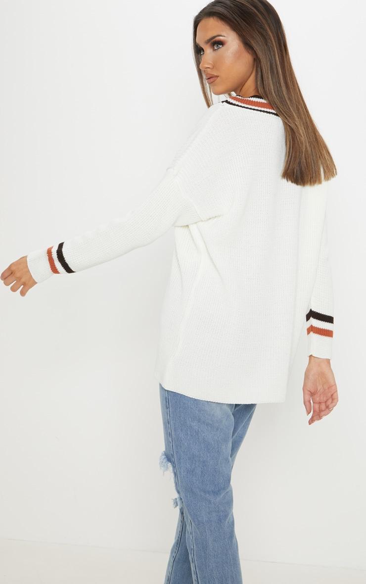 Cream Oversized Varsity Knitted Jumper  2