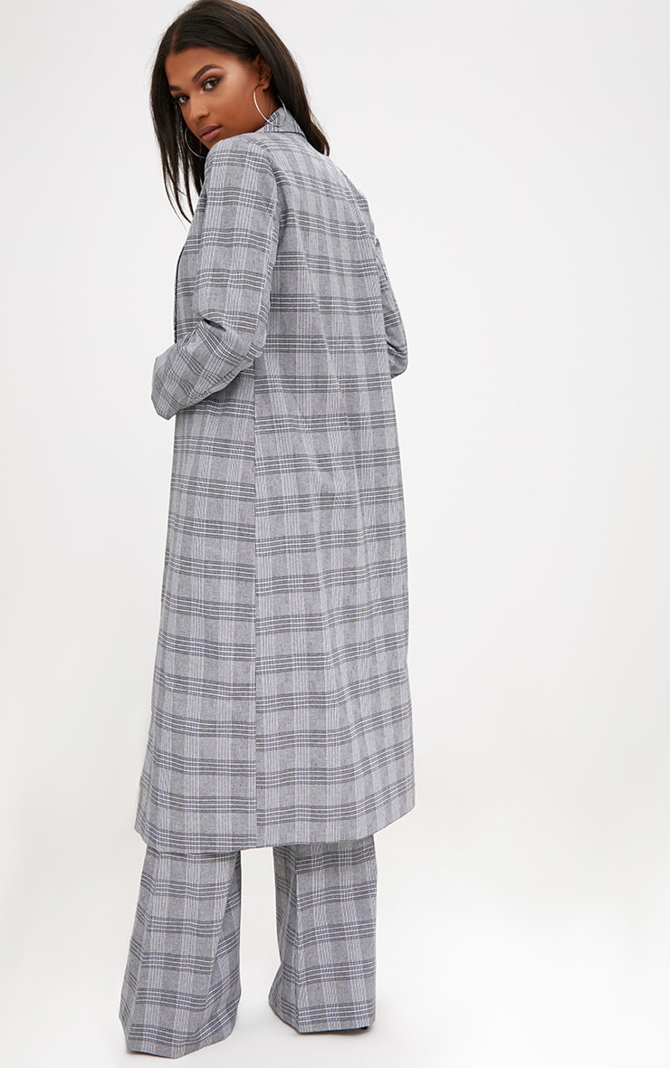 Grey Check Tailored Duster Coat 2