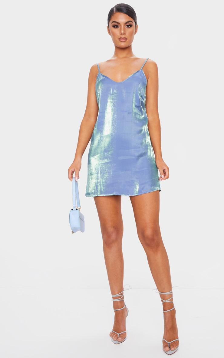 Blue Iridescent Strappy Shift Dress 3