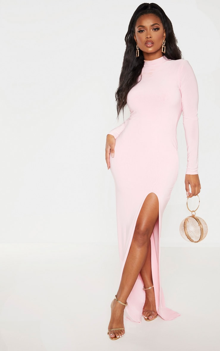 Shape Candy Pink Slinky High Neck Maxi Dress 1
