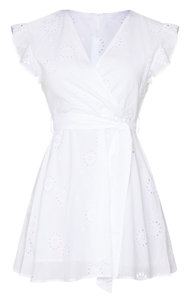 White Broderie Anglaise Frill Tie Waist Shift Dress 5