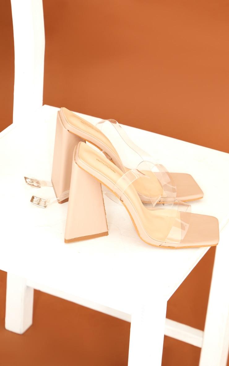 Nude Pu Square Toe Clear Strap Block Heel Sandals 4