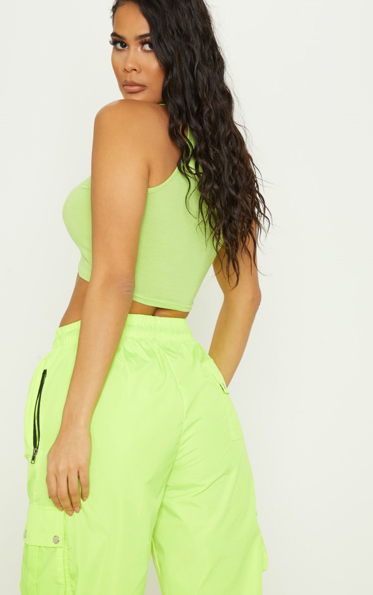 Neon Lime Basic Jersey Racer Neck Crop Top 2
