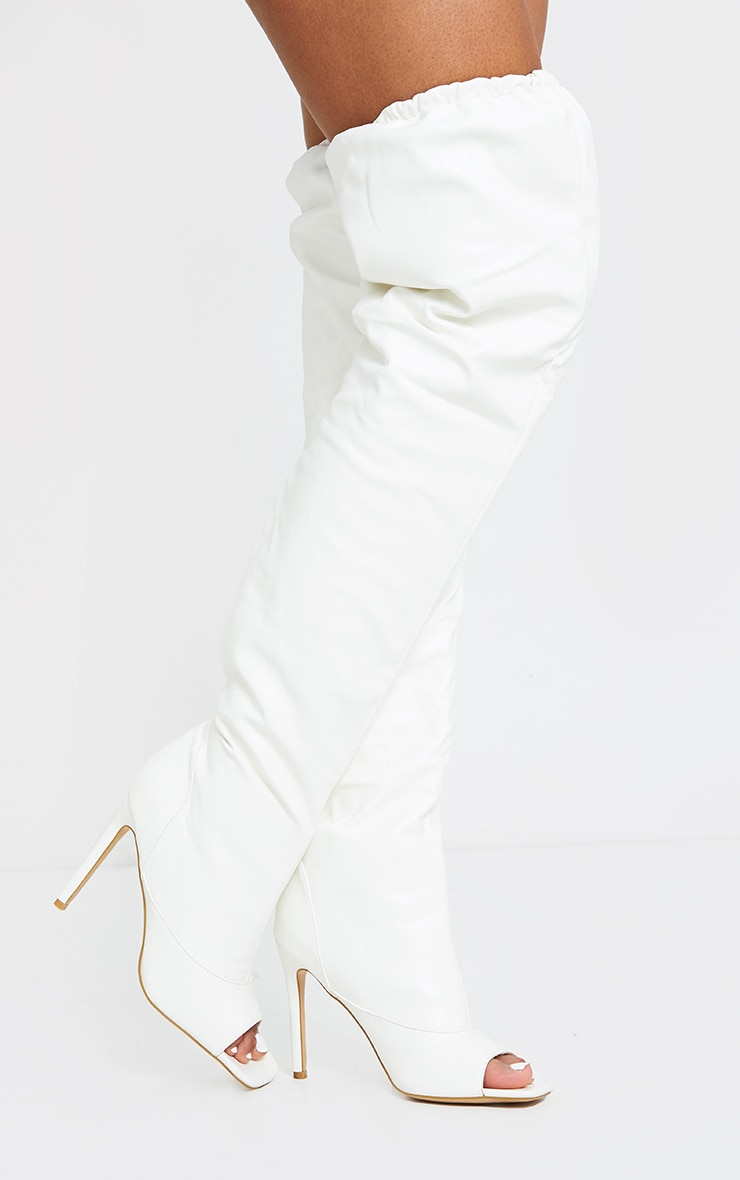 White Square Peeptoe Elastic Knee High Slouch Boots 1