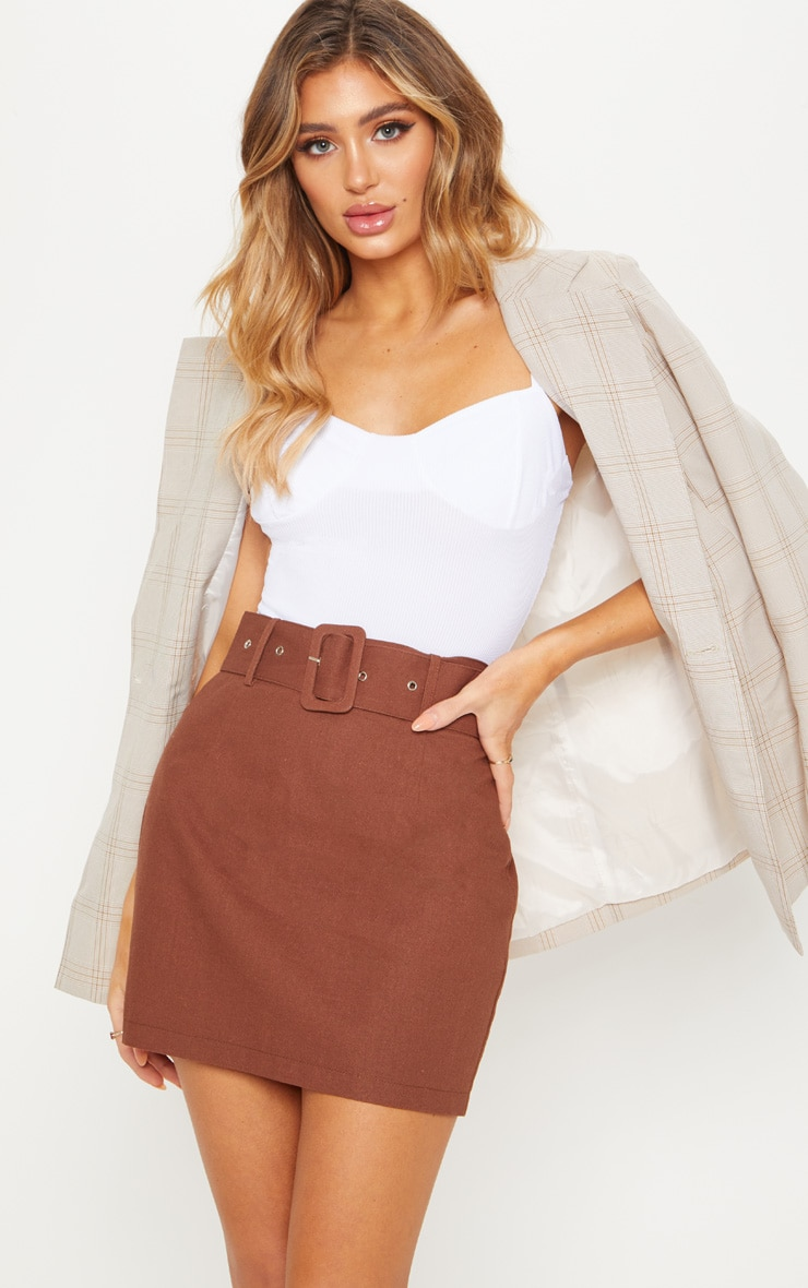 Chocolate Belted Cargo Mini Skirt 1