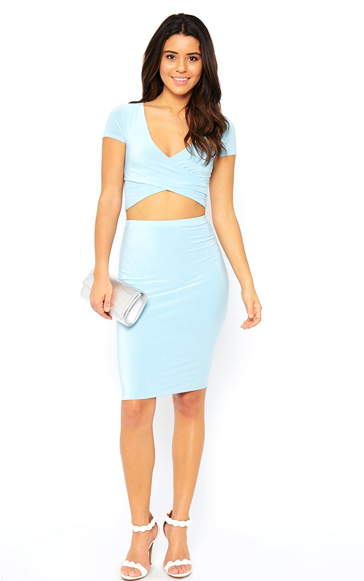 Arabella Powder Blue Slinky Midi Skirt 5