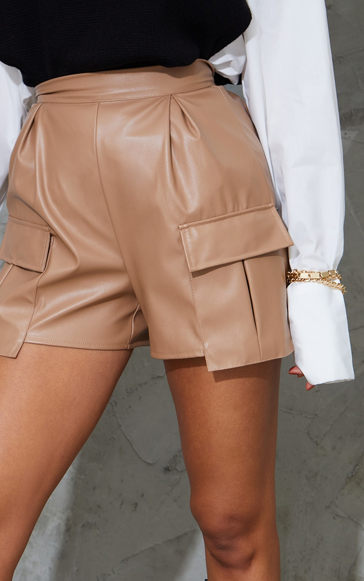 Camel Faux Leather Pocket Detail Pleated Shorts 5