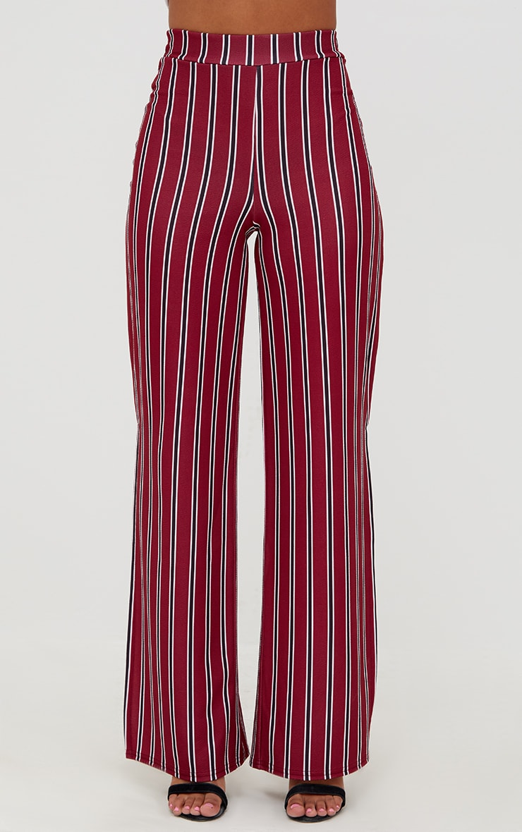 Petite Burgundy Stripe Flared Suit Trousers 4