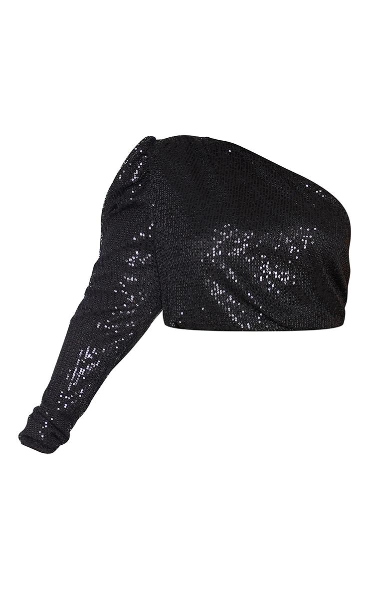 Plus Black Sequin Halterneck Detail One Sleeve Crop Top 5