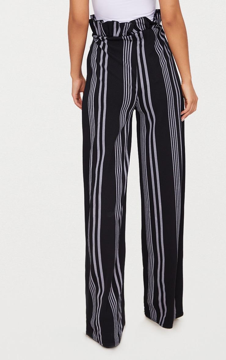 Black Stripe Crepe Paperbag Wide Leg Pants 4