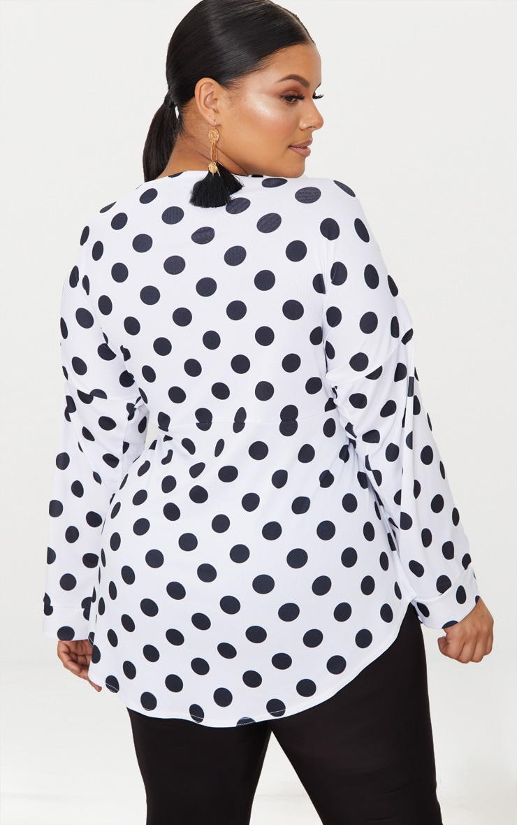 Plus White Polka Dot Tie Waist Blouse 2
