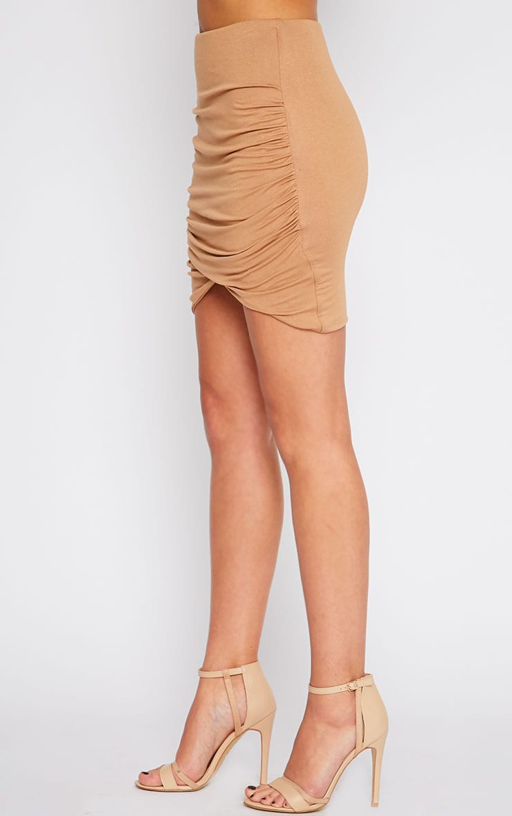Camel Jersey Ruched Mini Skirt  3