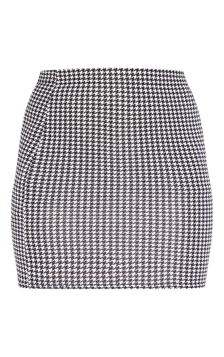 Dogtooth Check Print Mini Skirt 3