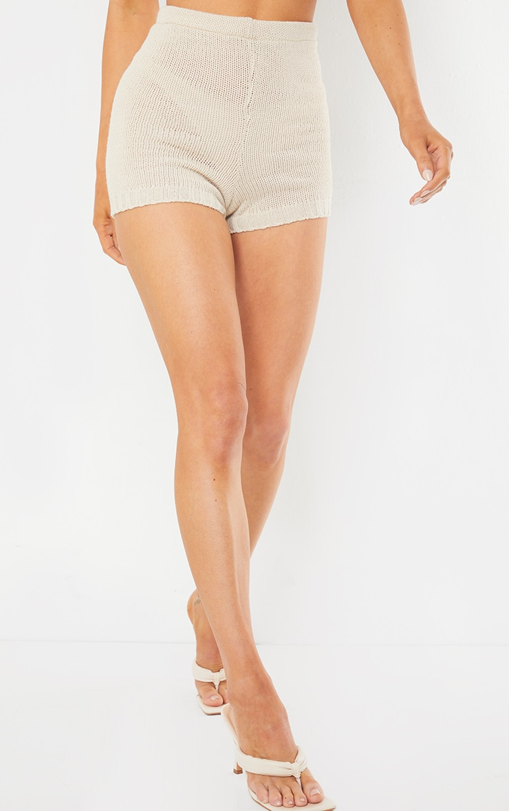 Cream Knitted High Waisted Shorts 3