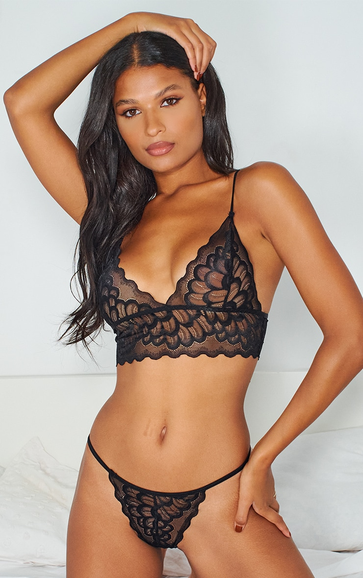 Black Longline Scallop Lace Triangle Lingerie Set 3