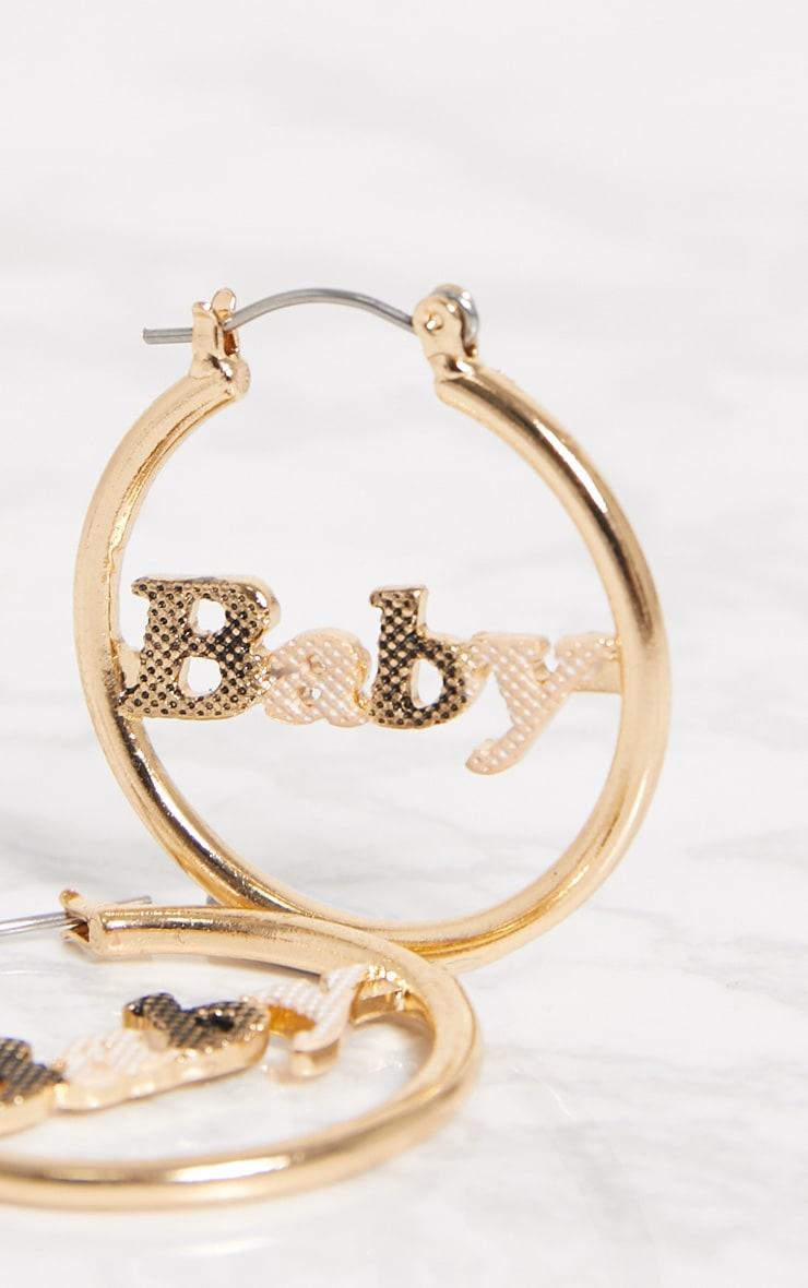 Gold Baby Slogan Hoop Earrings 3