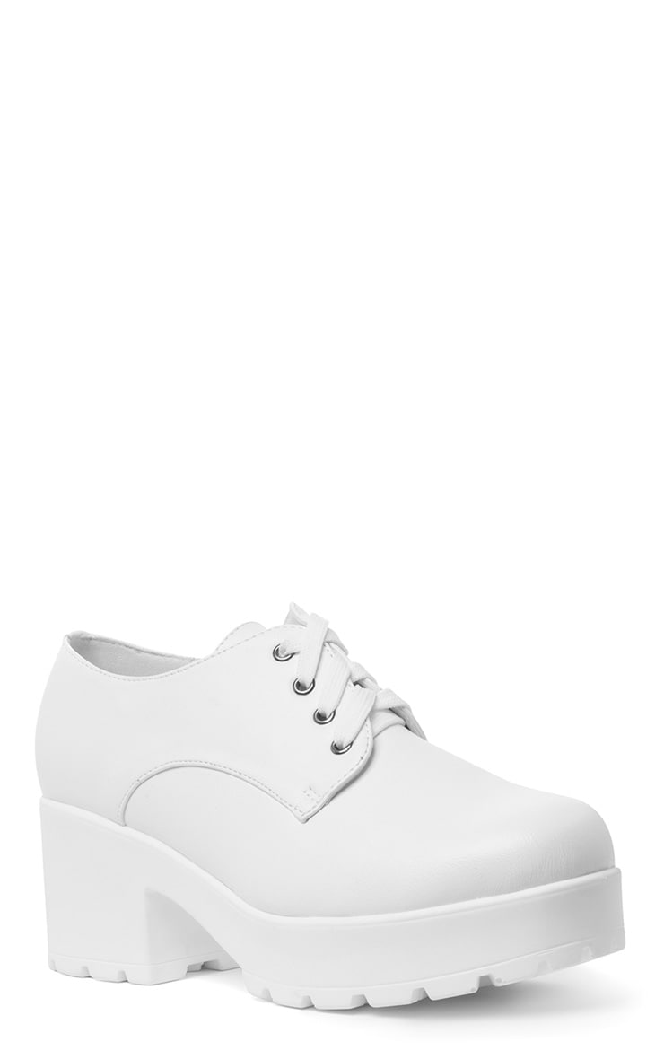 Jean White Lace Up Heeled Shoe  4