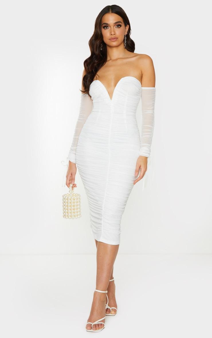 White Mesh V Bar Ruched Detail Bardot Midi Dress 1
