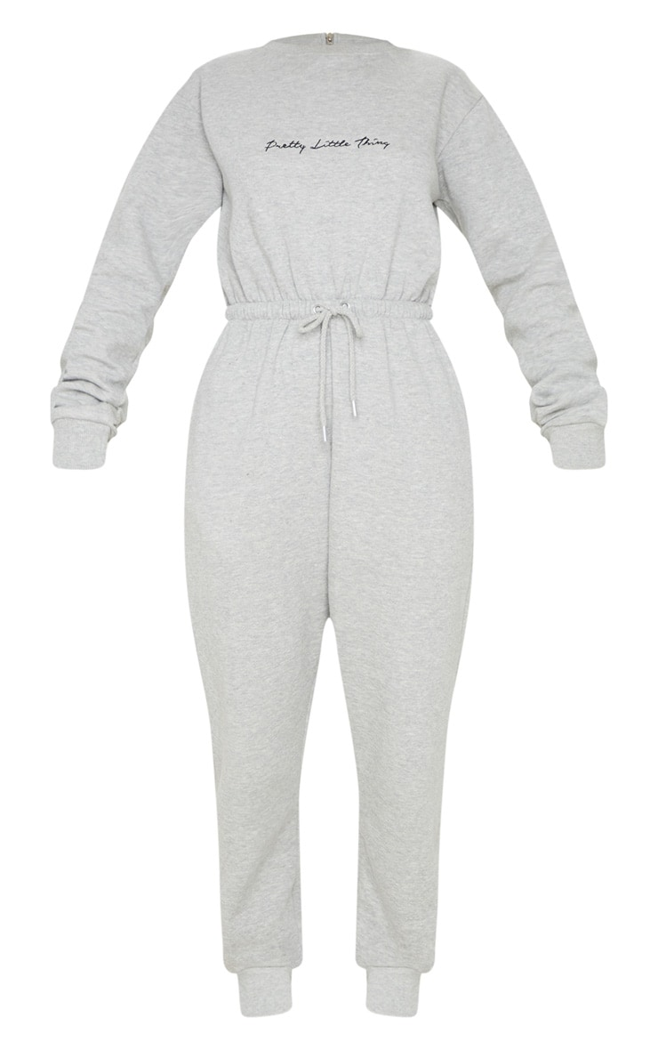 PRETTYLITTLETHING Grey Embroidered Sweat Jumpsuit 3