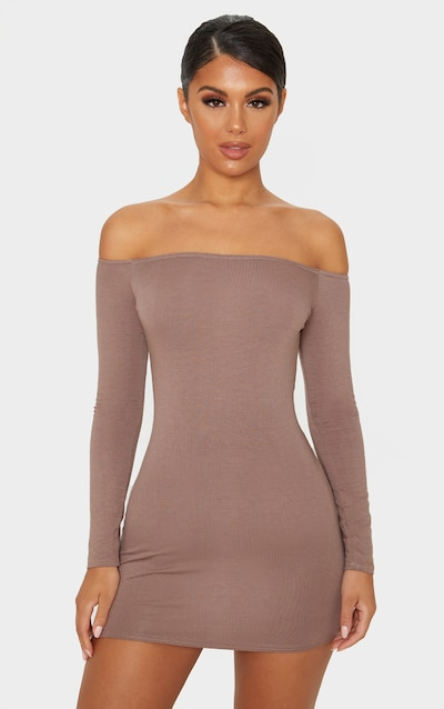 Mocha Bardot Bodycon Dress