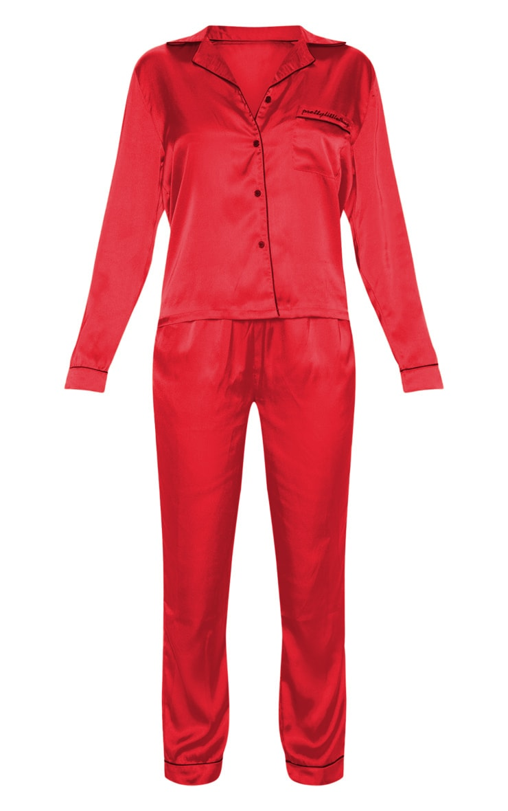 PRETTYLITTLETHING - Ensemble de pyjama satiné rouge à poches 3