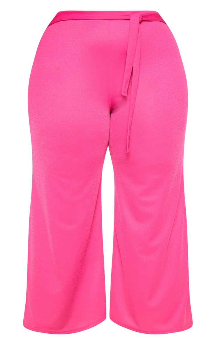 Plus Hot Pink Tie Waist Culotte 3