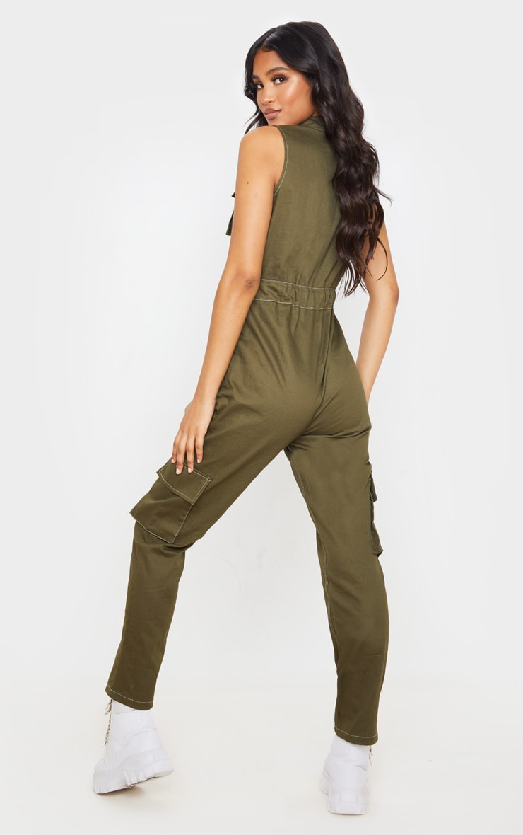 Khaki Zip Through Pocket Detail Utility Jumpsuit 2