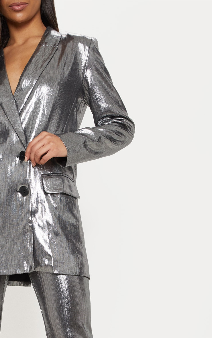 Silver Metallic Button Front Blazer  4