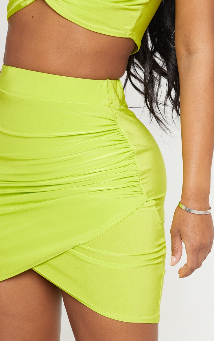 Shape Neon Lime Ruched Side Slit Bodycon Skirt 6